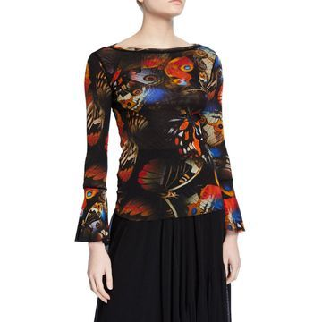 Butterfly Bell-Sleeve Tulle Mesh Top