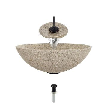 MR Direct Tan Granite Granite Vessel Round Bathroom Sink with Faucet (Drain Included)