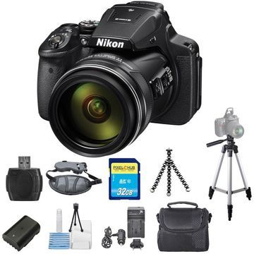 Nikon COOLPIX P900 16MP Digital Camera with 83x Optical Zoom Lens (Black) PRO BUNDLE with Battery and Charger, 32GB SD, Tripods + MORE