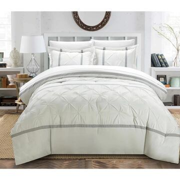 Chic Home Veronica White/Silver 12-Piece Bed in a Bag Comforter Set (Queen)