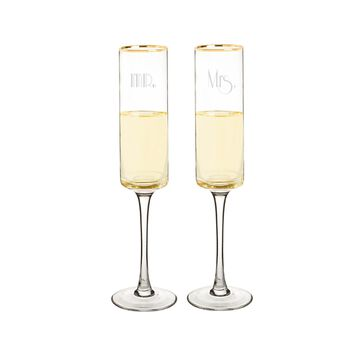 Cathy's Concepts Mr. & Mrs. 8 oz. Gatsby Gold Rim Contemporary Champagne Flutes
