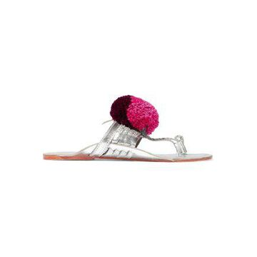 Figue Leo Pompom-embellished Metallic Leather Sandals