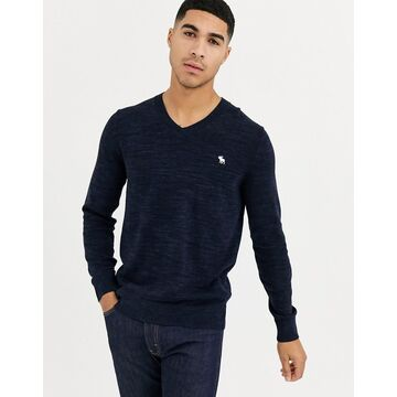 Abercrombie & Fitch core icon logo v neck knit sweater in navy