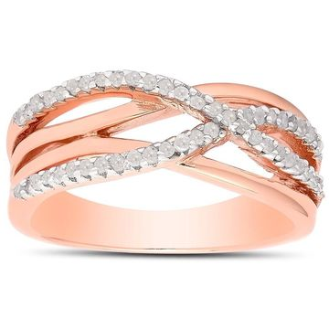 Finesque Sterling Silver 1/4ct TDW Diamond Infinity Ring