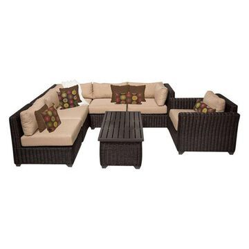 TK Classics Venice 7-Piece Outdoor Wicker Sofa Set, Wheat