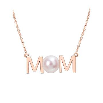 7-7.5mm White Freshwater Cultured Pearl 10kt Rose Gold MOM Necklace
