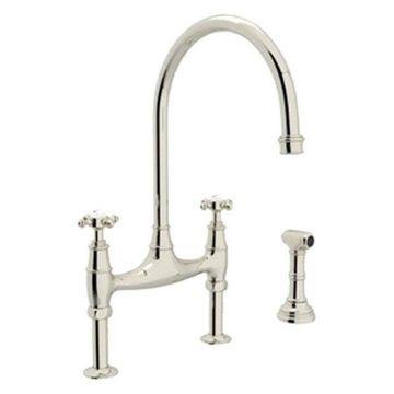Rohl U.4718X-Pn-2 Bridge Faucet, Cross Handles and Side Spray, Polished Nickel