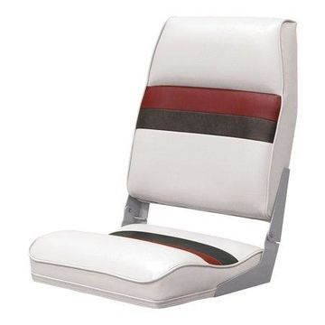 Wise 8WD434LS-1009 Deluxe Pontoon Series High Back Seat, White/Red/Charcoal