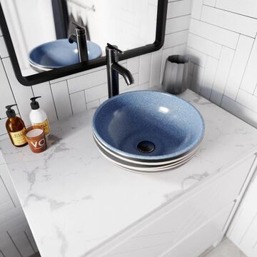 MR Direct Black and Blue Ceramic Vessel Round Bathroom Sink with Faucet (Drain Included) (15.63-in x 15.63-in) | V402-726-C