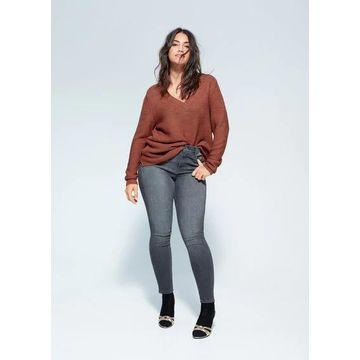 Violeta BY MANGO - V-neck sweater burnt orange - M - Plus sizes