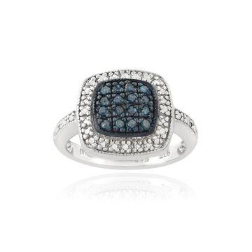 DB Designs Sterling Silver 1/6ct TDW Blue Diamond Square Ring (6)