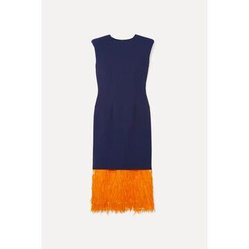 Dries Van Noten - Feather-trimmed Cady Midi Dress - Blue