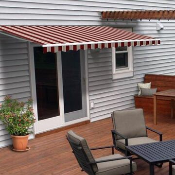 ALEKO 10'x8' Retractable Motorized Patio Awning, Multi Striped Red Color