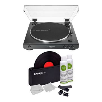 Audio-Technica AT-LP60X USB Turntable with Knox Vinyl Record Cleaning Kit