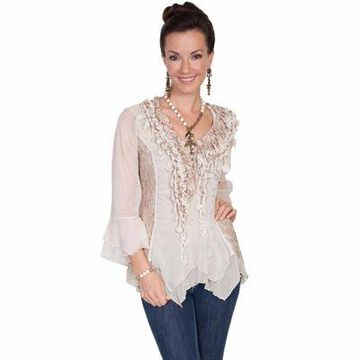 Scully Honey Creek Women's Lace And Ruffle Blouse
