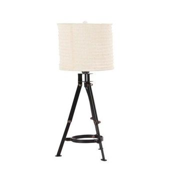 Decmode 24 Inch Industrial Iron Tripod Table Lamp, Black