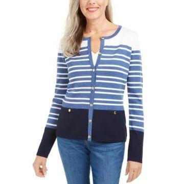 Karen Scott Striped Cardigan Sweater, Created For Macy's