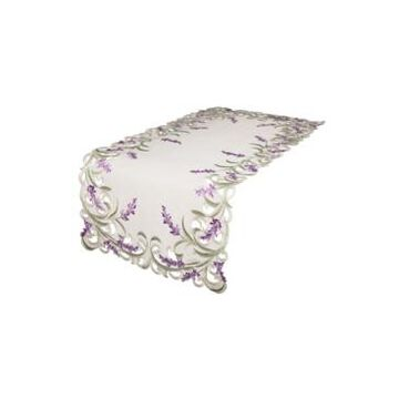 """Xia Home Fashions Lavender Lace Embroidered Cutwork Table Runner, 15"""" x 53"""""""