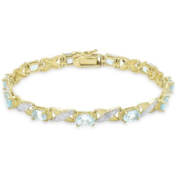 Dolce Giavonna Gold over Sterling Silver Gemstone Diamond Accent XO Design Bracelet
