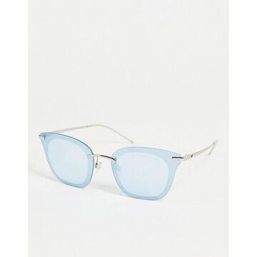 Emporio Armani cat-eye sunglasses in baby blue-Silver