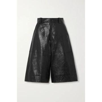 GANNI - Leather Shorts - Black