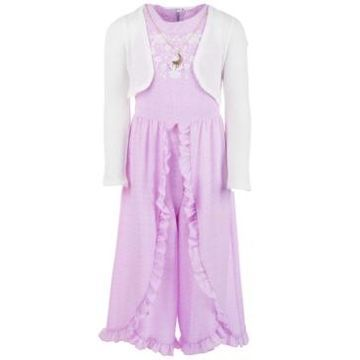 Beautees Big Girls 3-Pc. Shrug, Ruffled Jumpsuit & Necklace Set