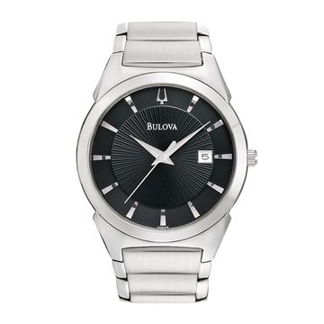 Bulova Mens Black-Dial Silver-Tone Watch
