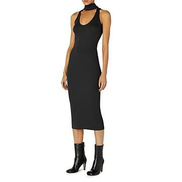 Enza Costa Ribbed Choker Midi Dress