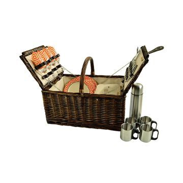Buckingham Willow Picnic Basket with Coffee Set - Service for 2