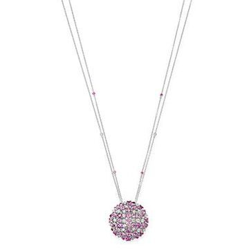 Roberto Coin 18K White Gold Pink Sapphire & Diamond Cluster Pendant Necklace, 20