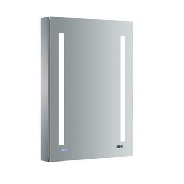 Fresca Luminosa 24-in x 36-in Lighted LED Fog Free Surface/Recessed Gray Mirrored Rectangle Medicine Cabinet with Outlet