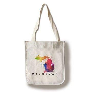 Michigan - State Abstract Watercolor - Lantern Press Artwork (100% Cotton Tote Bag - Reusable)