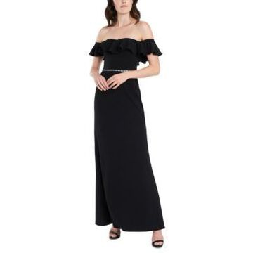 Msk Ruffled Off-The-Shoulder Gown