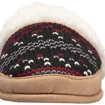 Dearfoams Women's Patterned Knit Closed T Scuff, Black, XL US