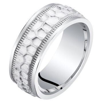 Men's Sterling Silver Hammered Pattern Wedding Ring Band Comfort Fit Sizes 8-14