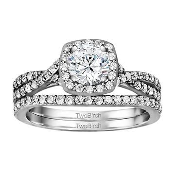 TwoBirch Bridal Set (Two Rings) in 14k Gold set with Diamonds (G,SI1) (1.69tw )