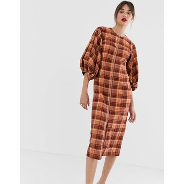 ASOS WHITE orange check zip front midi dress