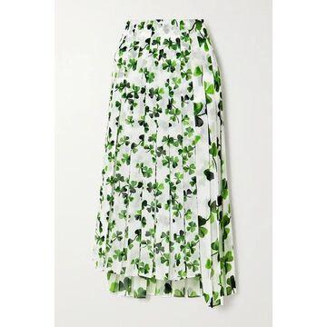 Loewe - Asymmetric Pleated Printed Chiffon Midi Skirt - White