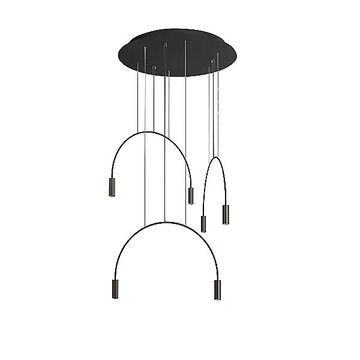 Volta Round LED Multi-Light Pendant Light by Estiluz - Color: Black - Finish: Matte - (113535264_3x035352672B_3x671000036)