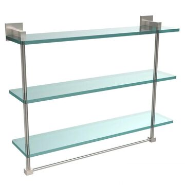 Allied Brass Montero Collection 22-inch Triple Tiered Glass Shelf with integrated towel bar