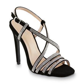 Qupid Women's Diamond Black/Rhinestone Dress Sandal