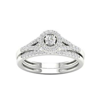 IGI Certified 1/3Ct TDW Diamond 10k White Gold Split Shank Halo Bridal Set (H-I, I2)
