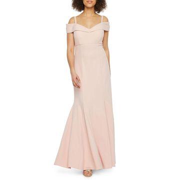 R & M Richards Short Sleeve Cold Shoulder Evening Gown