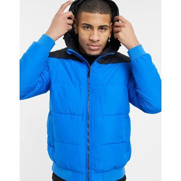 Only & Sons padded jacket with hood in blue-Blues