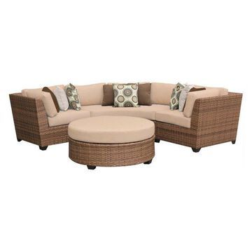 TK Classics Laguna 4-Piece Outdoor Wicker Sofa Set, Wheat