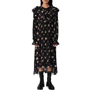 Maje Rider Floral Print Midi Dress