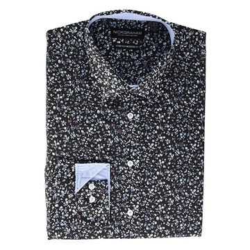 Nick Graham Daisy Floral CVC Stretch Dress Shirt (Blue) Men's Long Sleeve Button Up