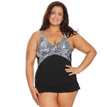 Profile by Gottex Plus Size Tribal Underwire Swim Dress