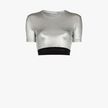 Paco Rabanne metallic logo embroidered short sleeve crop top
