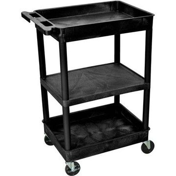 Luxor Top and Bottom Tub Shelf and Middle Flat Shelf Cart